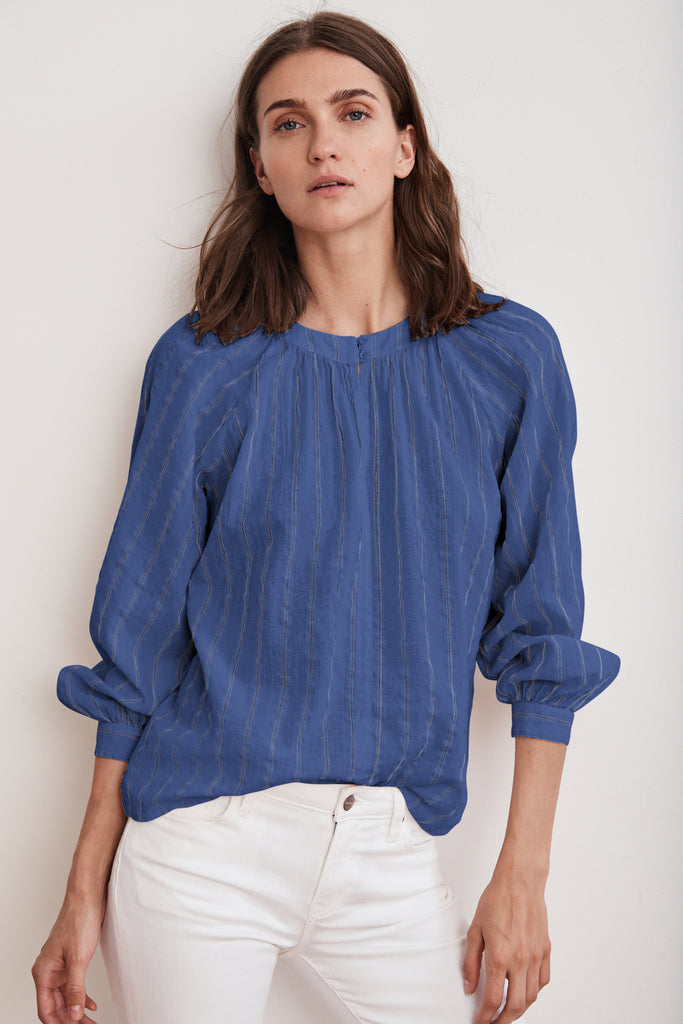 OLIVE COTTON VOILE LUREX PEASANT TOP IN COBALT