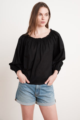 ORI COTTON VOILE TOP IN BLACK