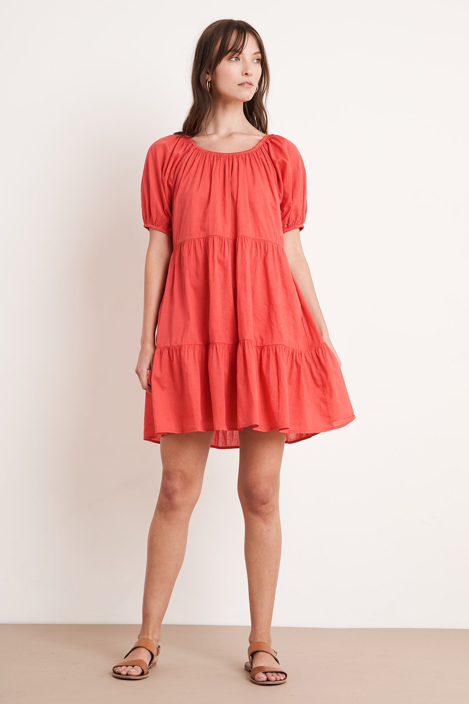 RENELLE COTTON VOILE DRESS IN HIBISCUS