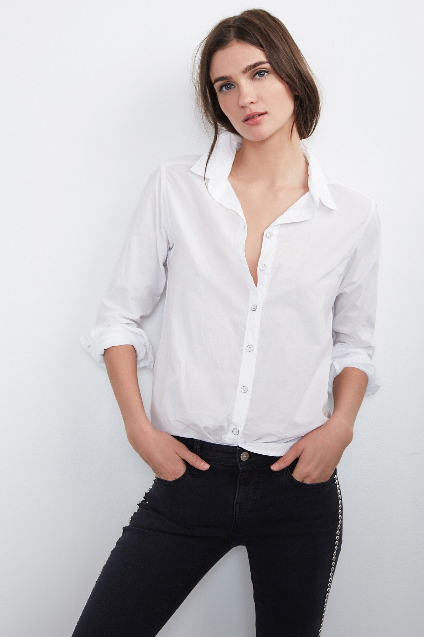 MINNIE BUTTON-DOWN COTTON SHIRT IN WHITE