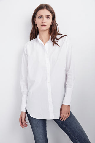 SAMANA COTTON POPLIN BUTTON UP IN WHITE