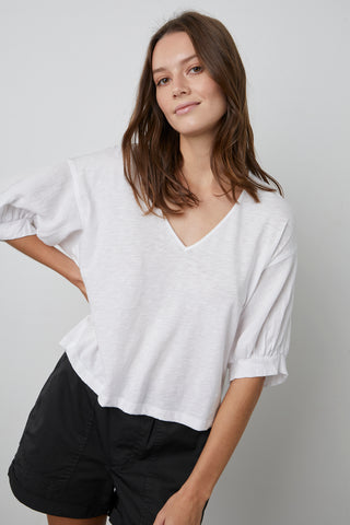 CLAUDIA PUFF SLEEVE TEE IN WHITE