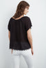 BUTTERCUP COTTON GAUZE TOP IN BLACK