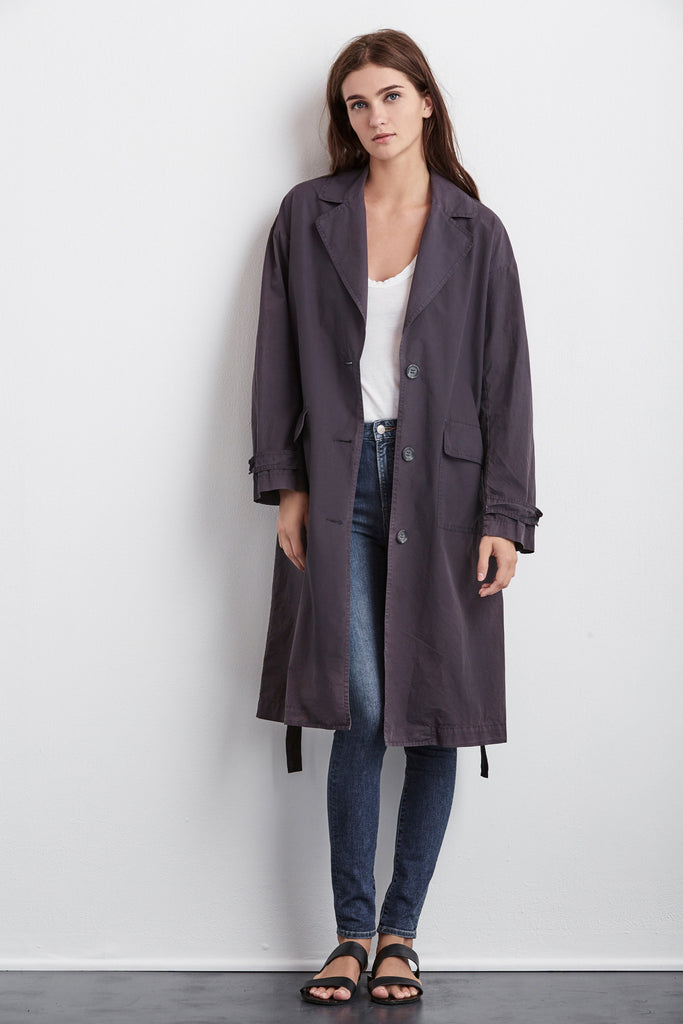 ESTELLE COTTON POPLIN TRENCH COAT IN OYNX