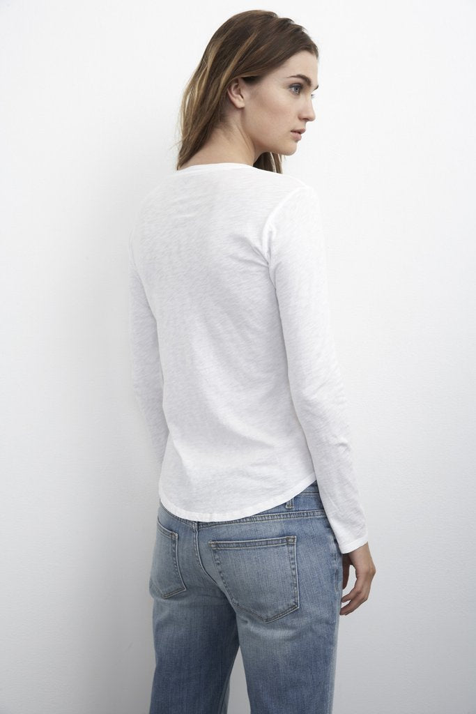 ADIEL COTTON SLUB SCOOP NECK TEE IN WHITE