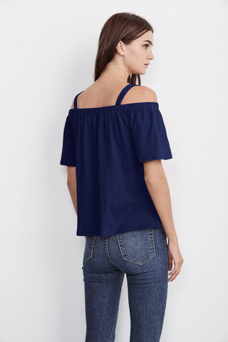 AUGUSTA COTTON SLUB OFF THE SHOULDER TEE IN MAGIC