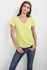 LILITH COTTON SLUB V-NECK TEE IN KEYLIME