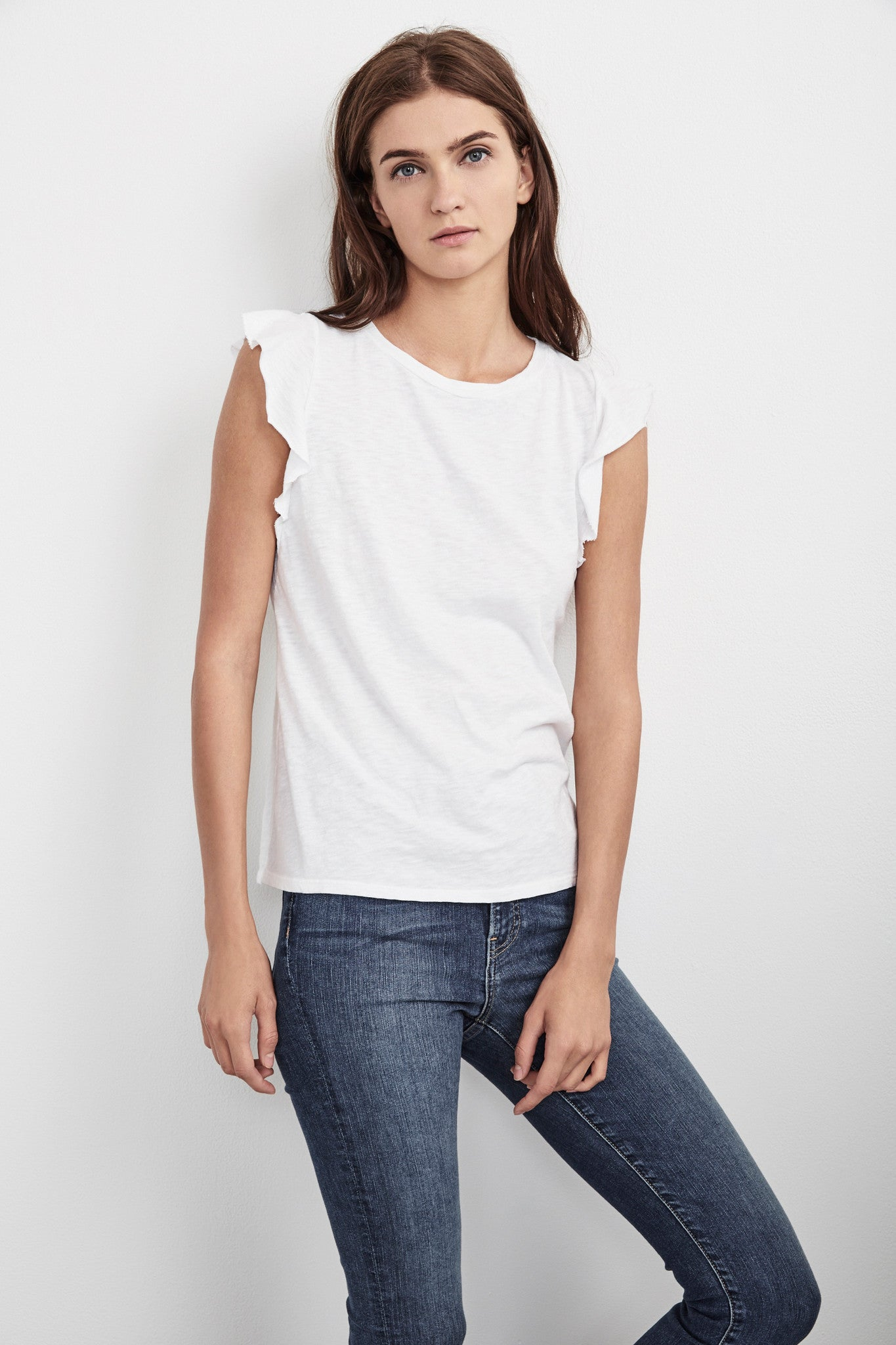 MARYLOU COTTON SLUB FLUTTER SLEEVE TEE IN WHITE