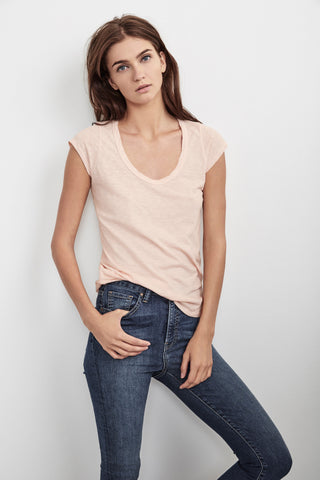 SUMETTE COTTON SLUB TEE IN ROSETTA