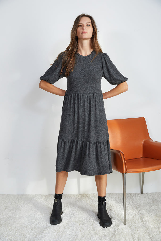 BRIE PUFF SLEEVE DRESS IN ANTHRACITE