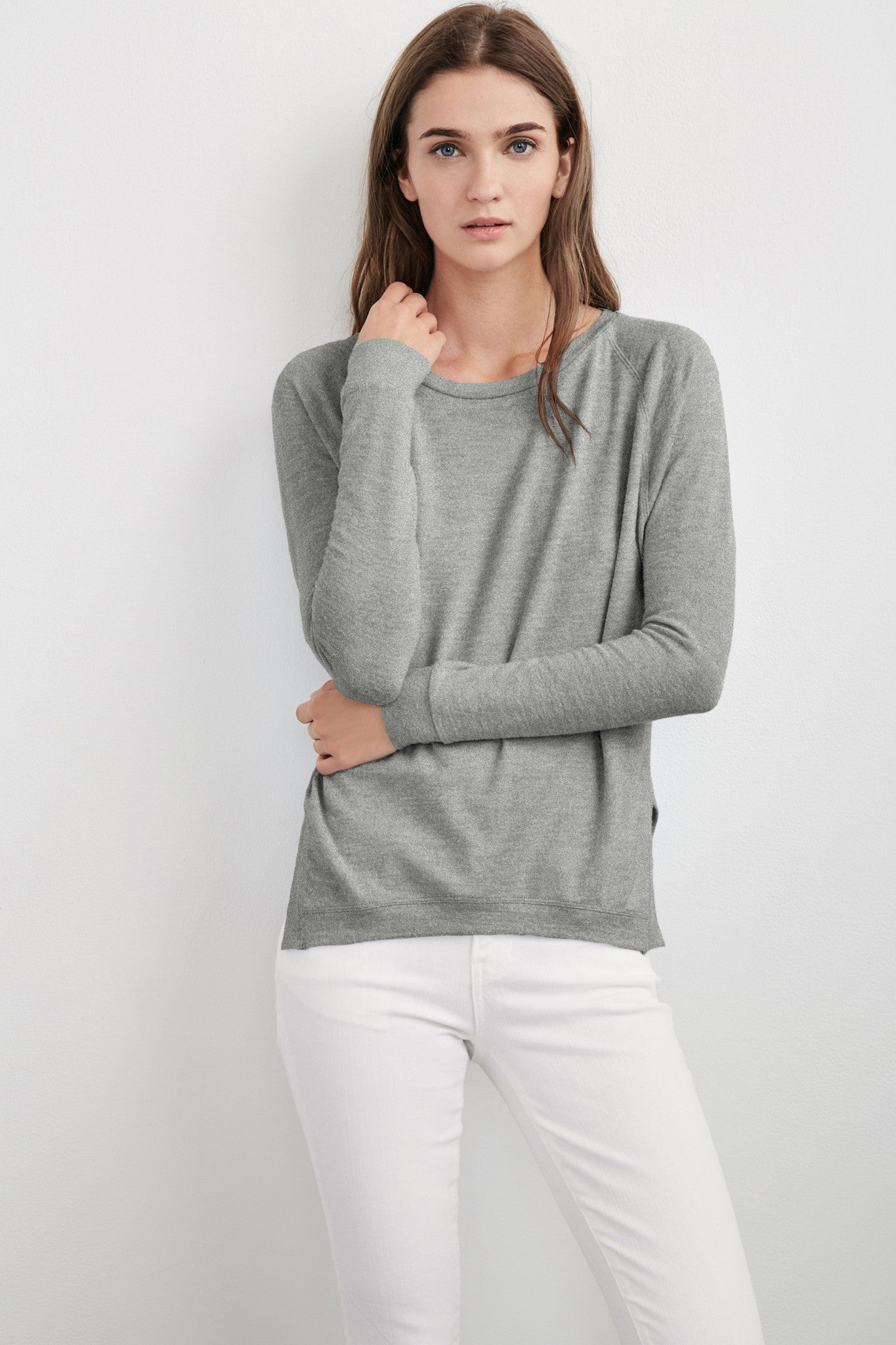 ROBINA COZY JERSEY LONG SLEEVE TOP IN HEATHER GREY