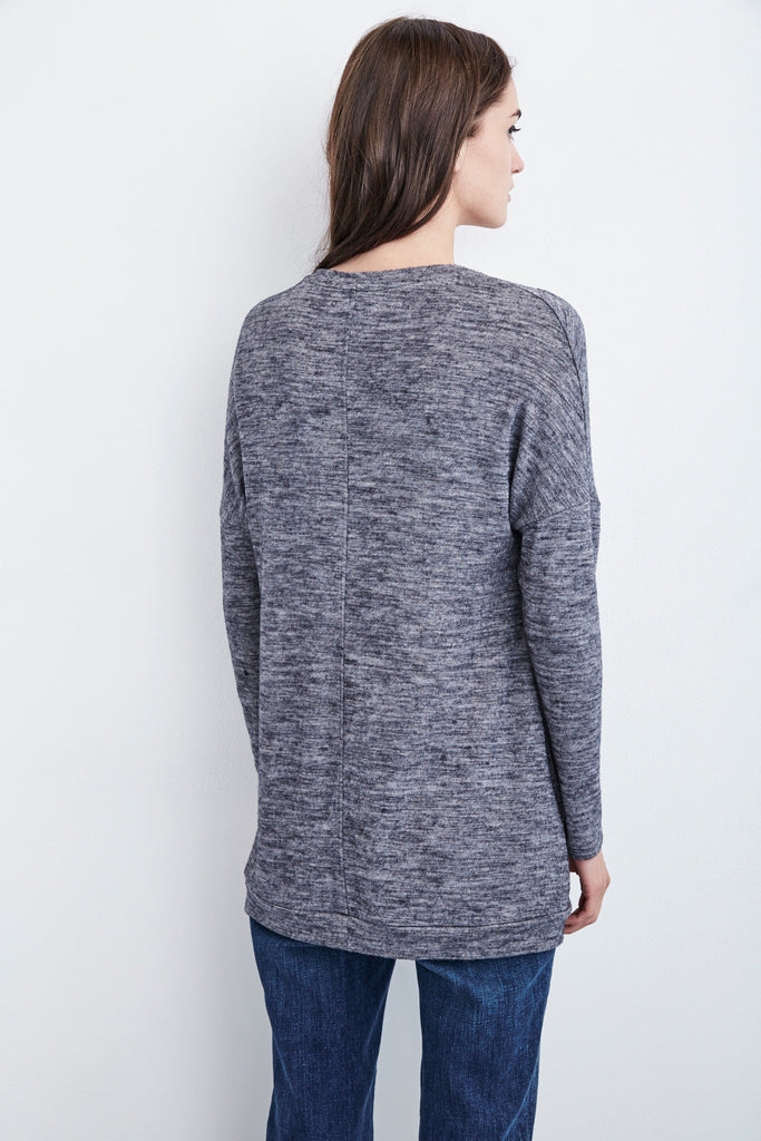 MARIAH COZY JERSEY V-NECK TOP IN ANTHRACITE