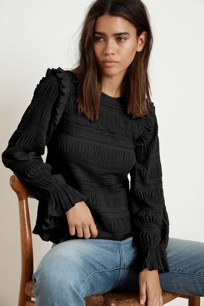 YNEZ GEORGETTE LACE RUFFLE BLOUSE IN BLACK