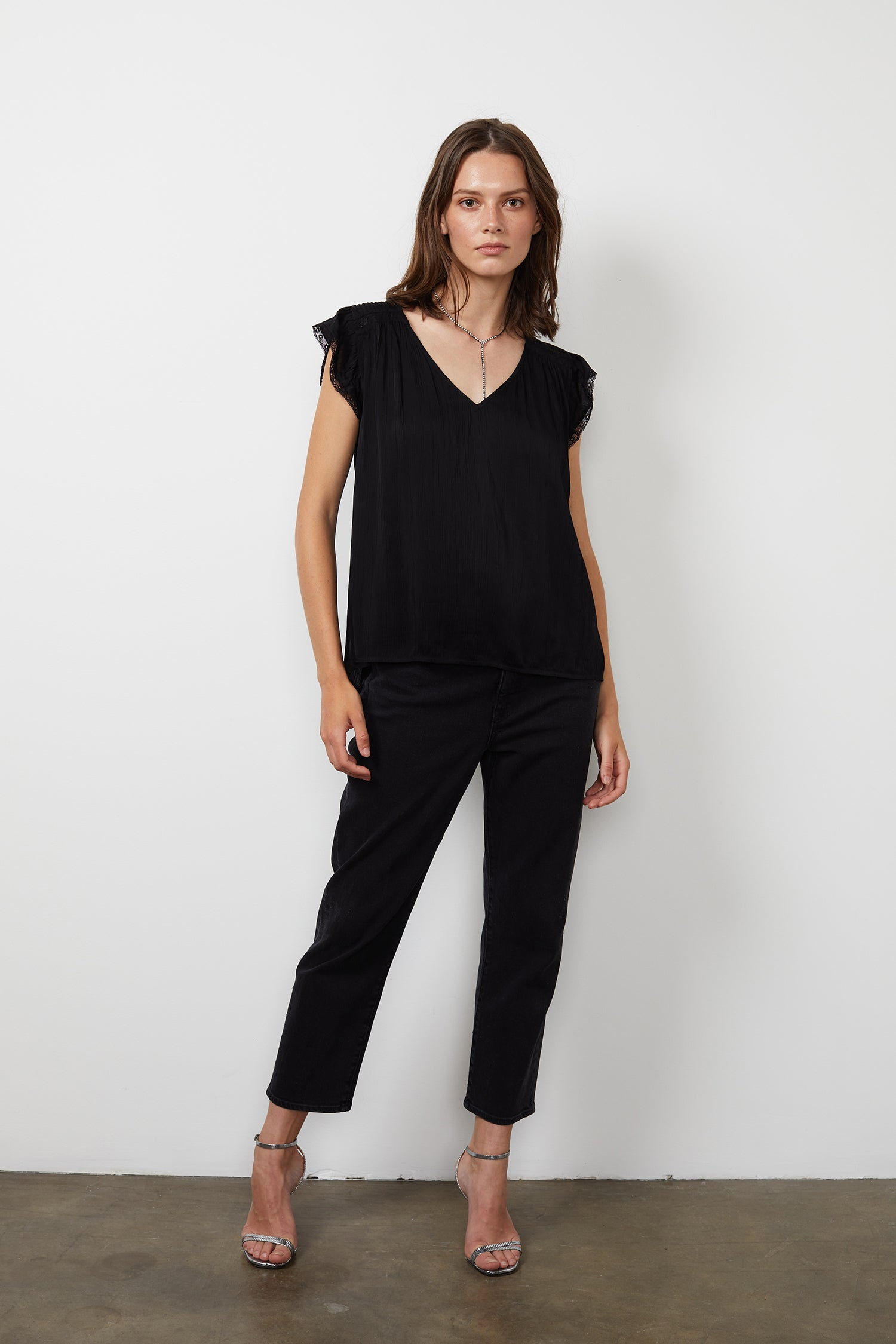 ISABELLE CRINKLE VISCOSE LACE V-NECK BLOUSE IN BLACK