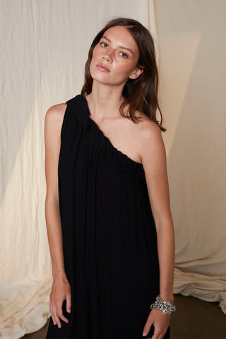 PORTIA CRINKLE VISCOSE LACE ASSYMETRICAL DRESS IN BLACK