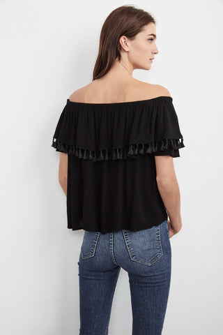 DOMINGA CRINKLED GAUZE OFF THE SHOULDER TOP IN BLACK