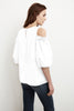 DARVINE CRISPY POPLIN COLD SHOULDER TOP IN WHITE