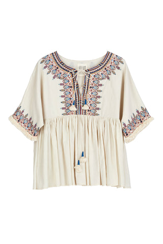 DAHLIA EMBROIDERED COTTON VOILE PEASANT TOP IN CREAM
