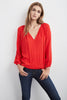 ALISSA DAMASK PEASANT TOP IN PUNCH