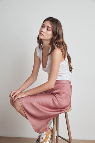 CALISSA SATIN VISCOSE MIDI SKIRT IN TULIP
