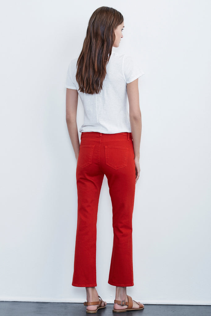KATE HIGH RISE CROP JEANS IN RED