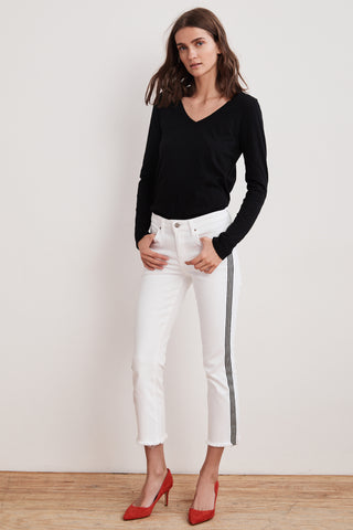 LARA STRIPE TAPE HIGH RISE CROP JEAN IN SALT