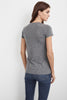 CHRISTIE GAUZY WHISPER V-NECK TEE IN HEATHER GREY