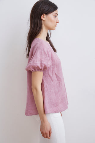 AMISSA WOVEN LINEN PUFF SLEEVE BLOUSE IN CANDY