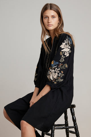 BETTINA EMBROIDERED DRESS IN BLACK