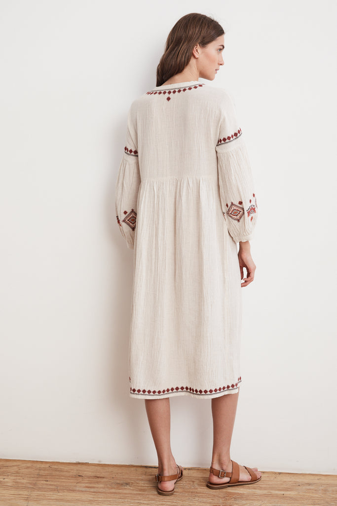 ETTA EMBROIDERED CRINKLED GAUZE PEASANT DRESS IN OATMEAL