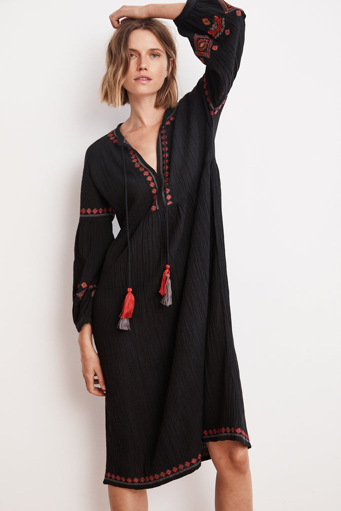 ETTA EMBROIDERED CRINKLED GAUZE PEASANT DRESS IN BLACK