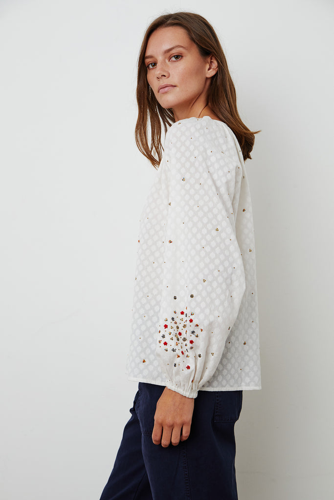 LORENA EMBROIDERED TOP IN OFF WHITE