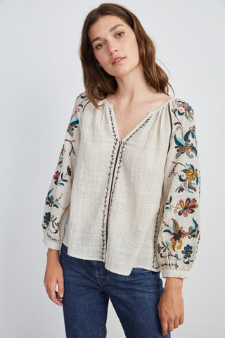 ROCCO EMBROIDERED TOP IN OATMEAL
