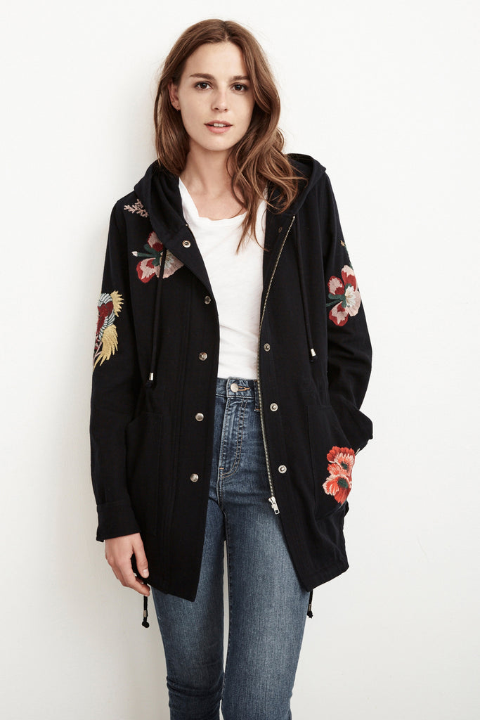 HONEY EMBROIDERED PARKA JACKET ECLIPSE
