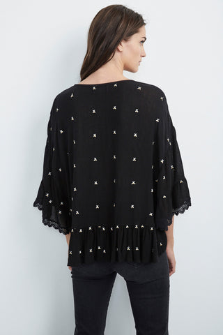 ALASDAIR EMBROIDERED RAYON GAUZE RUFFLE TOP IN BLACK