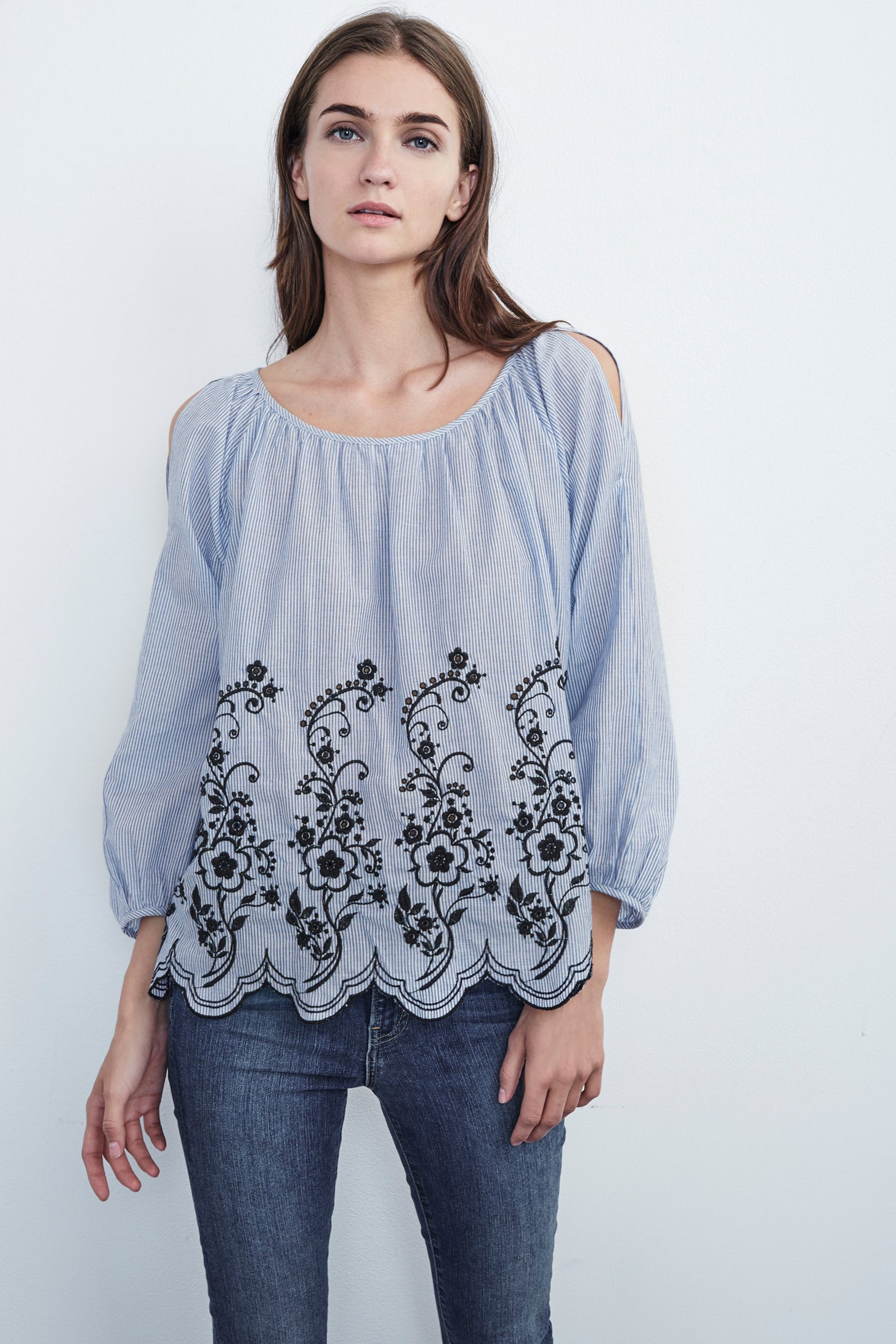 REAGAN EMBROIDERED STRIPE COTTON PEASANT TOP IN BLUE