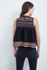 ELEN EMBROIDERED COTTON VEST IN BLACK