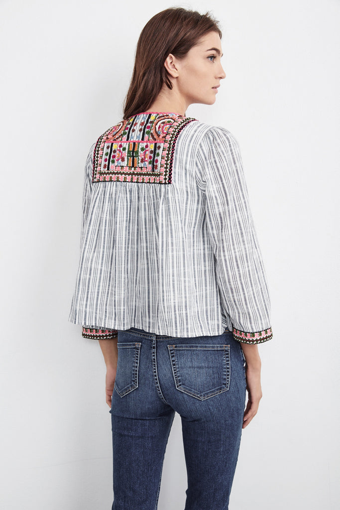 MCKAY EMBROIDERED COTTON JACKET IN BLUE