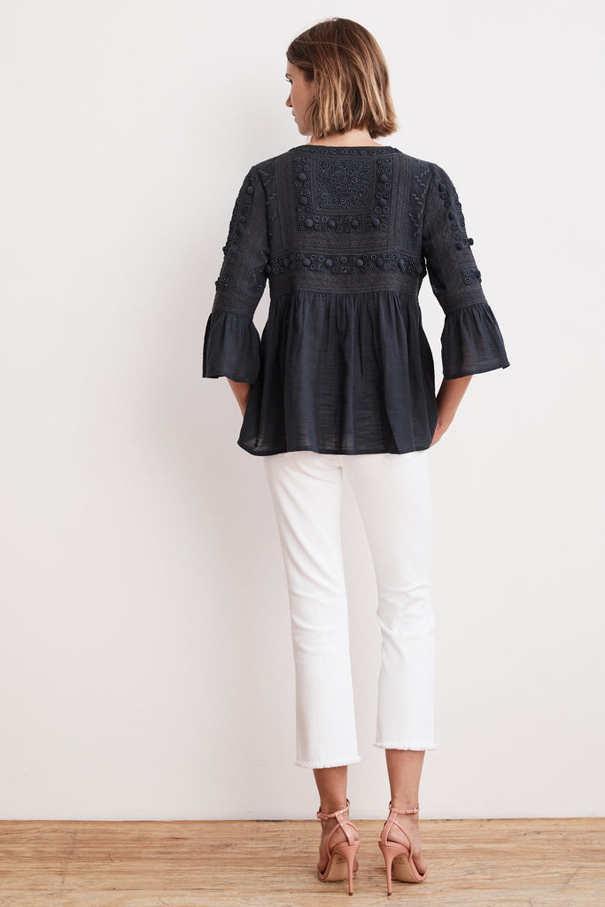 HANAE EMBELLISHED COTTON DRAPE JACKET IN CHARCOAL