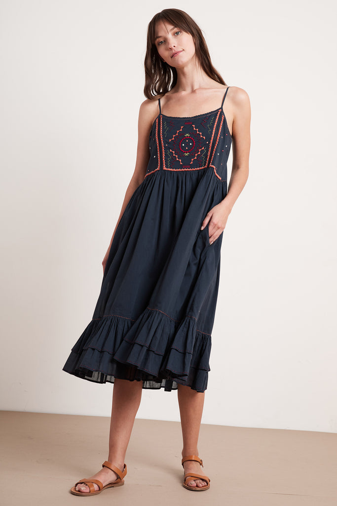 PAMMY EMBROIDERED DRESS DRESS IN BLUE