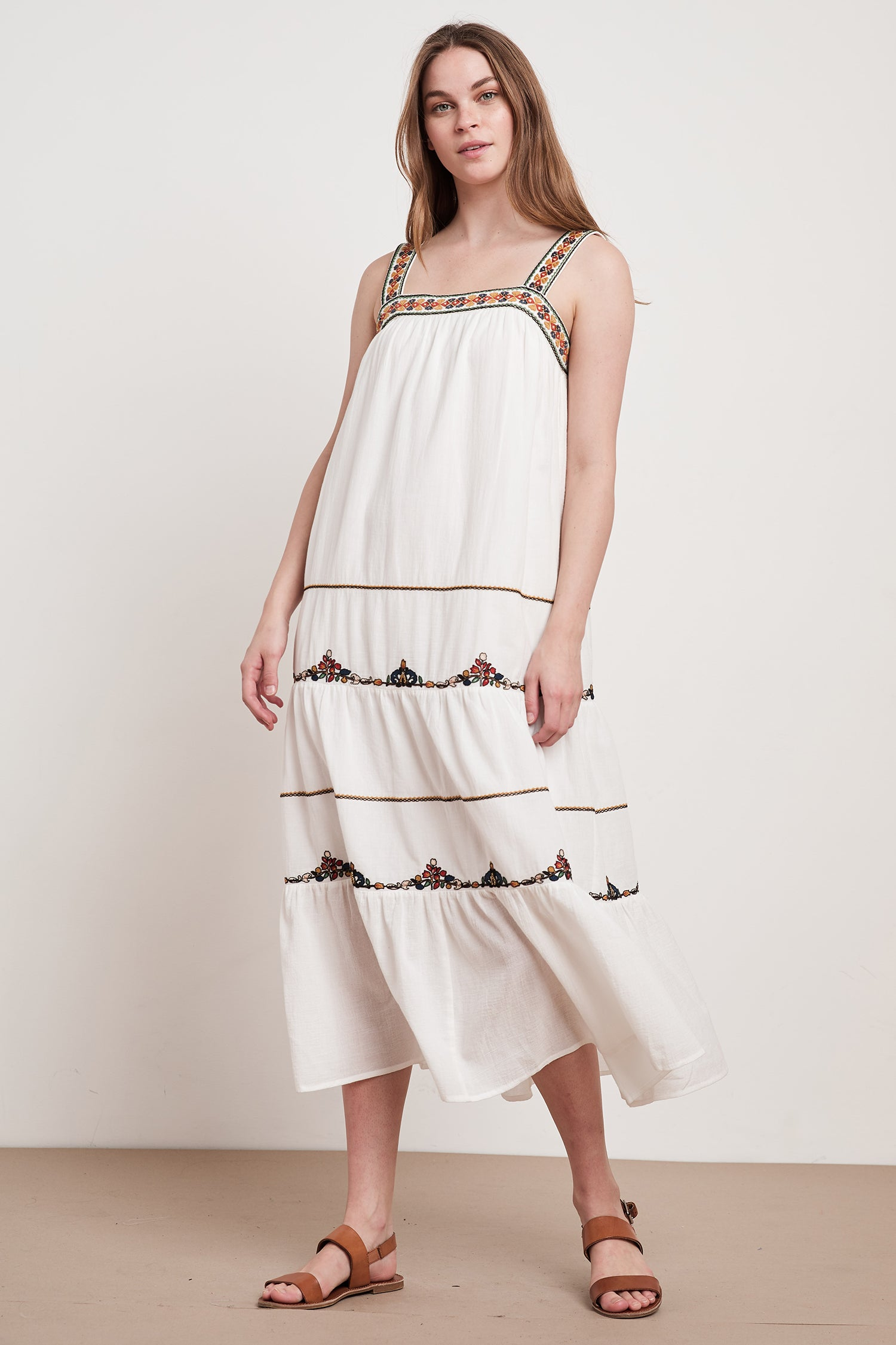 WINIFRED EMBROIDERED MAXI DRESS DRESS IN WHITE