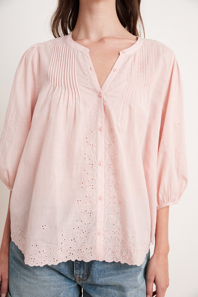 CATHERINE EYELET EMBROIDERY TOP IN DUSTYROSE