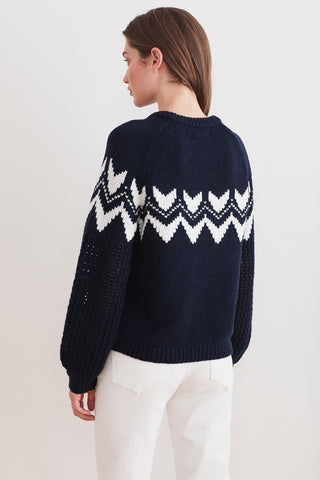KARLIE FAIR ISLE SWEATER IN NAVY/MILK