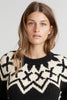 ROBYN FAIR ISLE CREW NECK SWEATER IN BLACK IVORY
