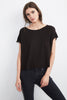 ADDIE LINEN BOAT NECK TEE IN BLACK