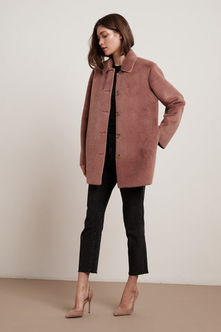 SKYLER FAUX FUR COAT IN DUSTY ROSE