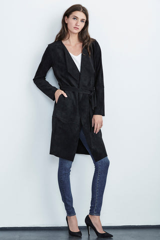 AUBREY FAUX SUEDE TRENCH IN BLACK