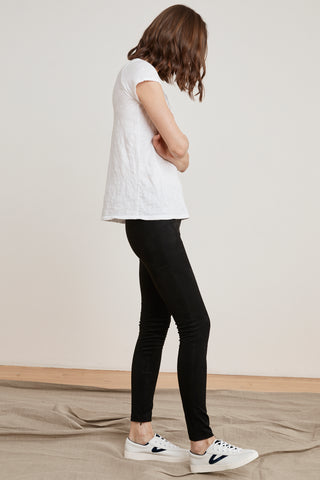 ROSALIND FAUX SUEDE LEGGINGS IN BLACK