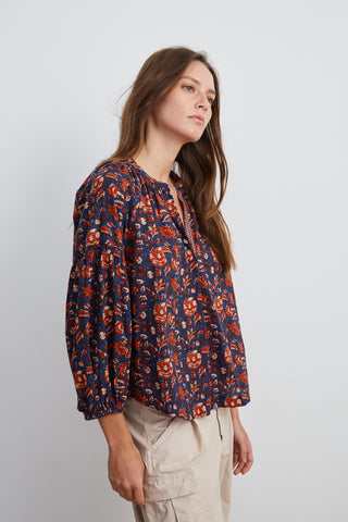 NOAH HALF PLACKET BLOUSE IN NAVY