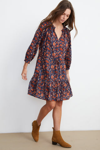 SHOSHANA PRINTED DRESS IN NAVY